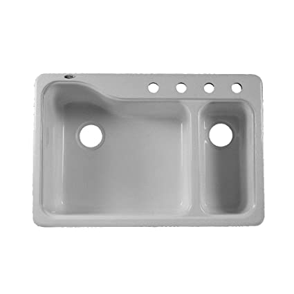 American Standard 7179.804.165 Silhouette 33 Inch Dual Level Double Bowl  Kitchen Sink With