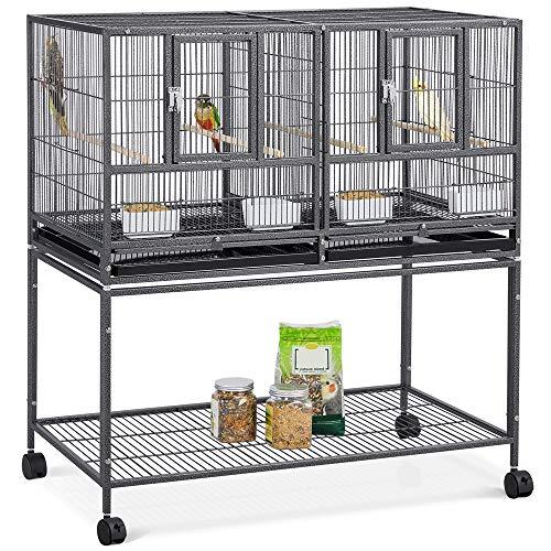 Jaula Cría para Pájaros Canarios Periquitos Jaula Grande con Soporte Ruedas