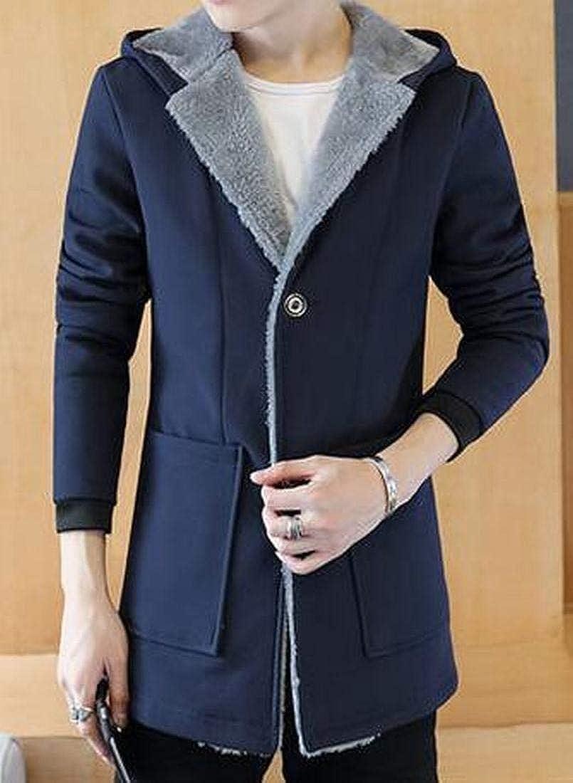 ARTFFEL Mens Thicken Warm Hooded Fall /& Winter Fleece Quilted Jacket Coat Outerwear