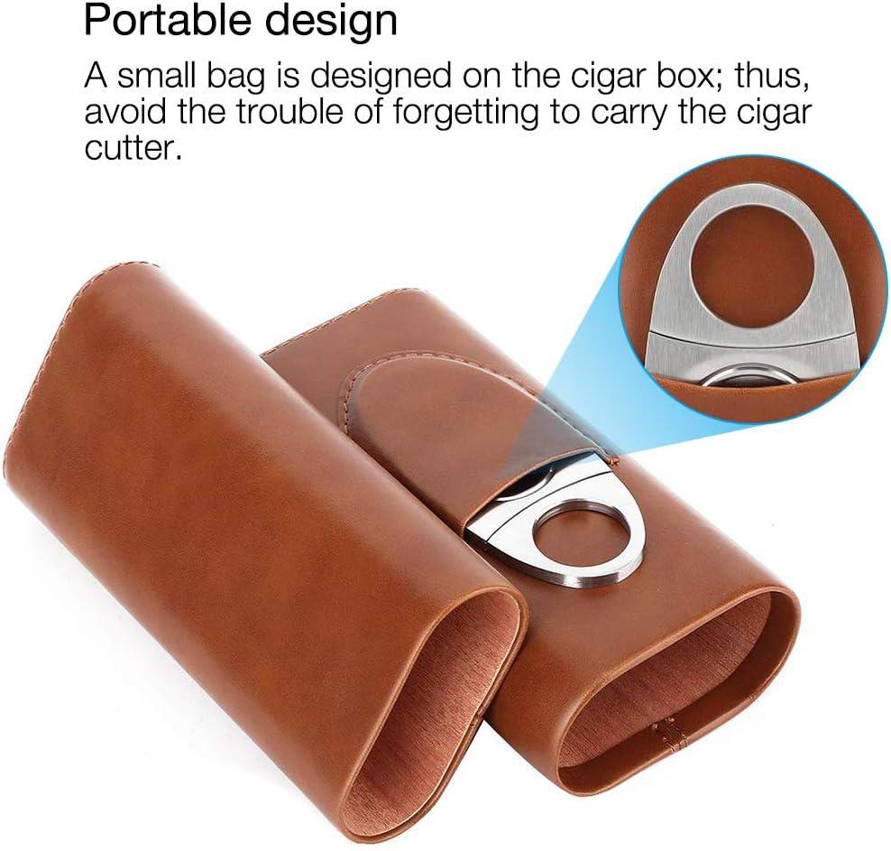 Marron /Étui /à Cigare avec Coupe-Cigare en Acier Inoxydable /Étui /à Cigare Portable en Cuir avec Doublure en Bois de c/èdre 3 Tubes IWILCS Bo/îte /à cigares en Cuir