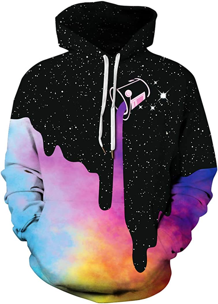 BarbedRose Men's Digital Print Sweatshirts Hooded Top Galaxy Pattern Hoodie