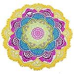 Canga Indiana Redonda Mandala Saída de Praia, yoga ou Decoração Multicolorida 3