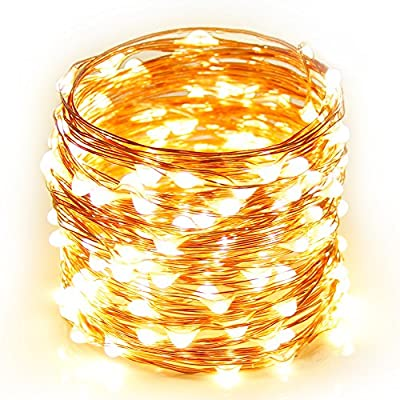 String Lights Fairy Copper lights, 16ft 50 LED Fairy Starry String Lights AA Battery Powered Rope Lights Decorative String Lights for Christmas Wedding Home Indoor Outdoor Decorating (Warm White)