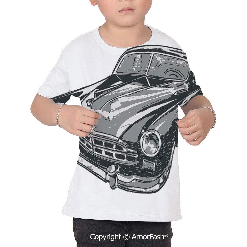 Cars Original Printed Short Sleeve Shirt Size XS-2XL Big,Hand Drawn Vintage Vehi