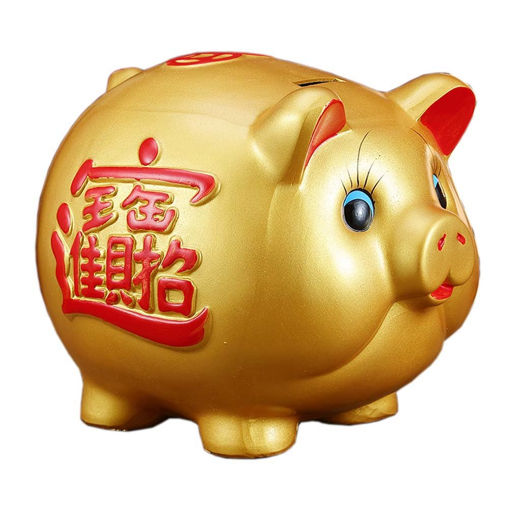 10 Gold Pig Lucky Porcelain Fortune Pig Money Box Piggy Bank