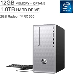 Premium_HP Pavilion Desktop - Intel Core i7-8700, 12GB RAM, AMD Radeon RX 550 Graphics, 16GB Intel Optane Memory, 1TB HD| Display Port, HDMI, DVD R/W| Multi-Card Reader, USB 3.1 Type C, Wi-Fi, Blueto