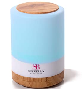 Sciobella Essential Oil Diffuser for Large Room Ultrasonic Aromatherapy & Cool Mist Humidifier Combo 300ml High Output 4 Timer 7 Colors LED Light and Water-less Auto Safety Shut off