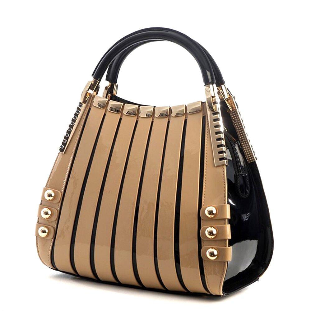 Bravo Beverly Hills Luxury HANDBAG~Irina Signature Series~Cream & Black Leather Handbag~Size Medium by Bravo Handbags Beverly Hills Collection (Image #3)