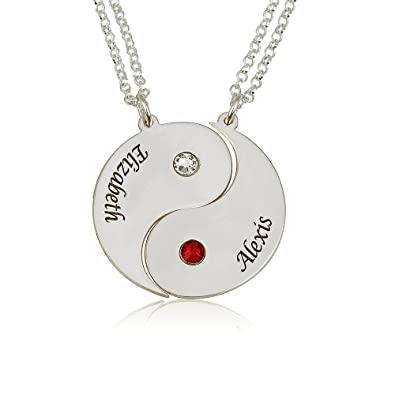 75f2f1a45c314 Sterling Silver Engraved Yin Yang 2 Pieces Necklace - Custom Made with 2  Names and 2 Simulated Birthstones
