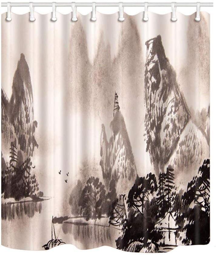 qhtqtt Cortinas De Ducha Montaje En Baño Pinturas De Lavado Chinas Mamparas De Baño Poliéster Impermeable Cortina De Ducha A Prueba De Moho 180X180Cm A: Amazon.es: Hogar