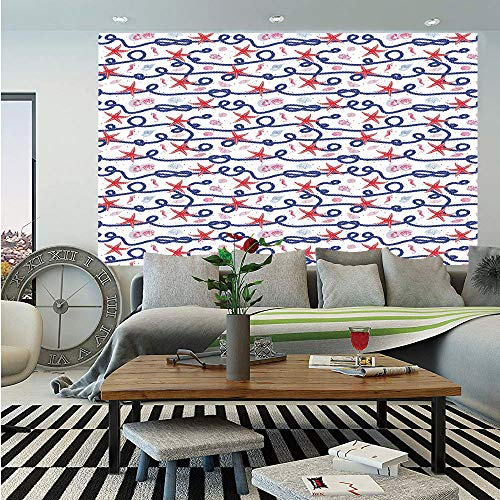 Starfish Decor Removable Wall Mural,Nautical Pattern Navy Marine Rope Red Starfish Shells Scallops Seahorses Decorative,Self-Adhesive Large Wallpaper for Home Decor 66x96 inches,Multicolor