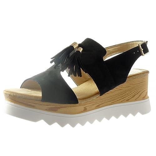 Angkorly - Chaussure Mode Sandale plateforme ouverte femme frange pom-pom bois Talon compensé plateforme 6.5 CM - Rose - FD29 dMx4yj3Chf