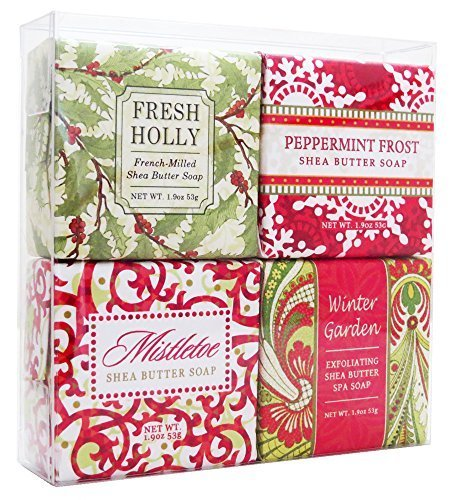 Christmas Holiday Soap Sampler - Boxed Set of 4 Assorted Scents by Greenwich Bay Trading ()