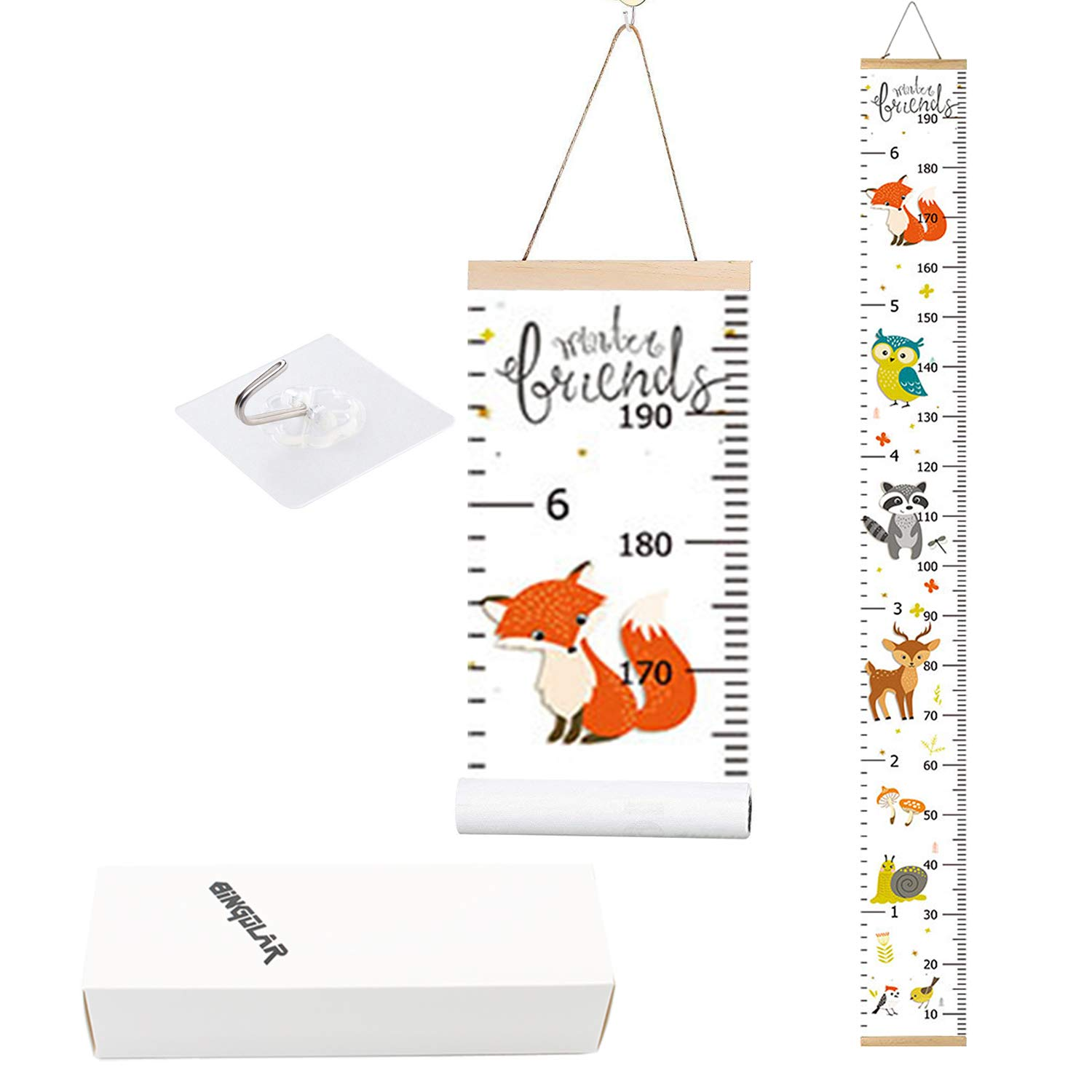 Bingolar Kids Growth Chart, Children Height Chart Growth Wall Chart Height Wall Chart Art Hanging Rulers for Kids Bedroom Nursery Wall Decor Removable Height and Growth Chart(HL 7.9 x 79in)