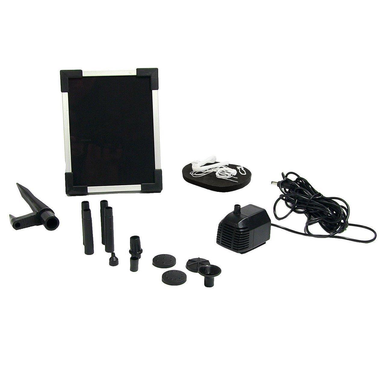 Sunnydaze Outdoor Solar Pump and Panel Fountain Kit with 5 Spray Heads, 47 GPH, 20-Inch Head