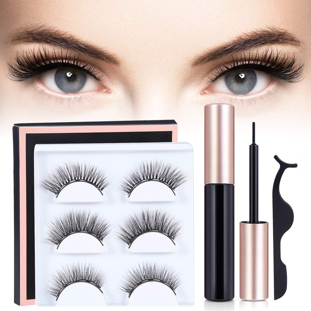 XY Fancy Magnetic Eyeliner and Magnetic Eyelashes Kit, Smooth Liquid Eyeliner and 3D Reusable Magnets False Lashes 3 Pair with Tweezers, Makeup Set for Daily Party Dating Wedding