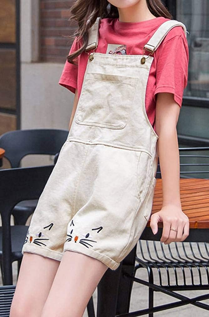 Yasong Women Girls Teenagers Student Junior Cute Embroidery Denim Dungaree Shorts Jumpsuit Pinafore Overalls