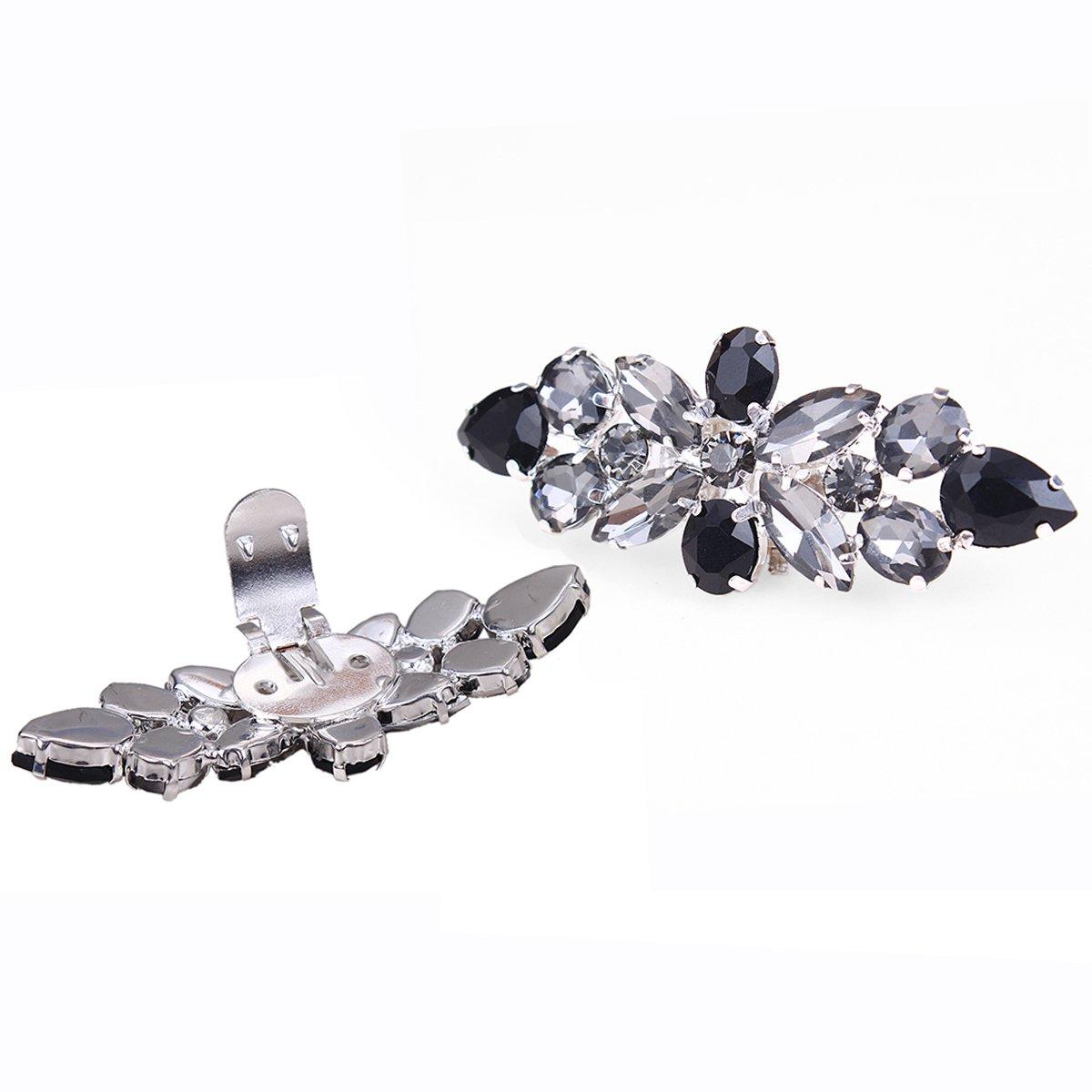 clip di design floreale con strass di colore nero e bianco per la decorazione delle scarpe Santfe