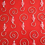 Swirled Round Bead Christmas Photo Ornament Hooks 48 Beaded Hangers