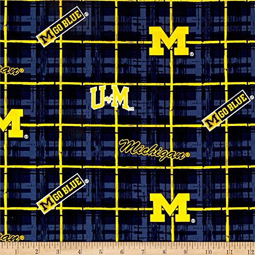 Sykel Enterprises Collegiate Cotton Broadcloth University of Michigan Plaid Blue Fabric By The ()