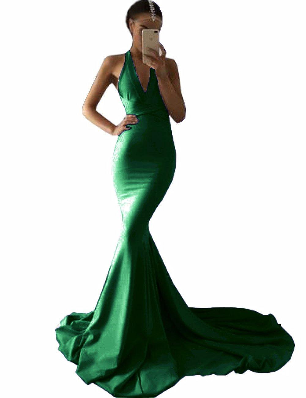 Emerald MariRobe Women's Deep V Neck Backless Evening Dress Spandex Mermaid Formal Party Dress Prom Gown 2019