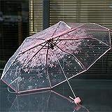 1pc Three Fold Umbrella Women Transparent Clear