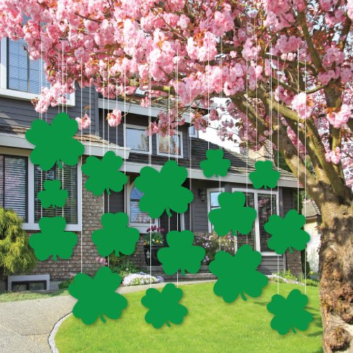 St. Patrick's Day Lawn Decorations – GREEN Hanging Shamrocks (Set of 15)