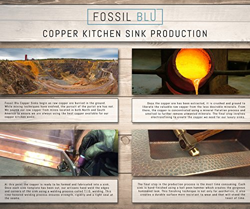 Luxury 33 inch Copper Farmhouse Kitchen Sink, Extra-thick 14-Gauge Pure Solid Copper, Artisan Hammered Finish, Single Bowl with Flat Front, includes Copper Disposal Flange, FSW1100 by Fossil Blu by Fossil Blu (Image #6)