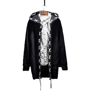 ニットセーターメンズ Swins Surr ロング カーディガン ファッション フード付き冬厚手防寒 セーター カジュアル (XXL/黒)