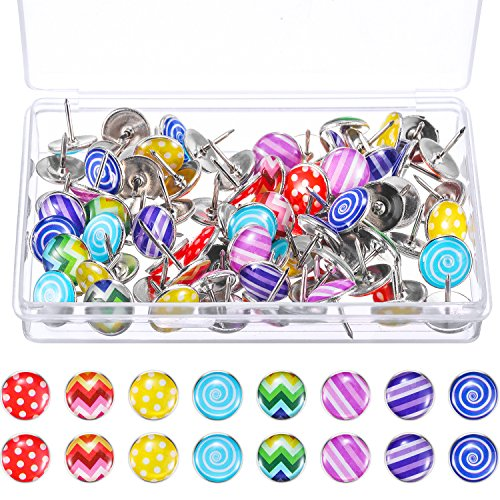 TecUnite Creative Fashion Push Pins Decorative Thumbtacks for Wall Maps, Photos, Bulletin Board or Cork Boards, 8 Different Patterns, 80 Pieces