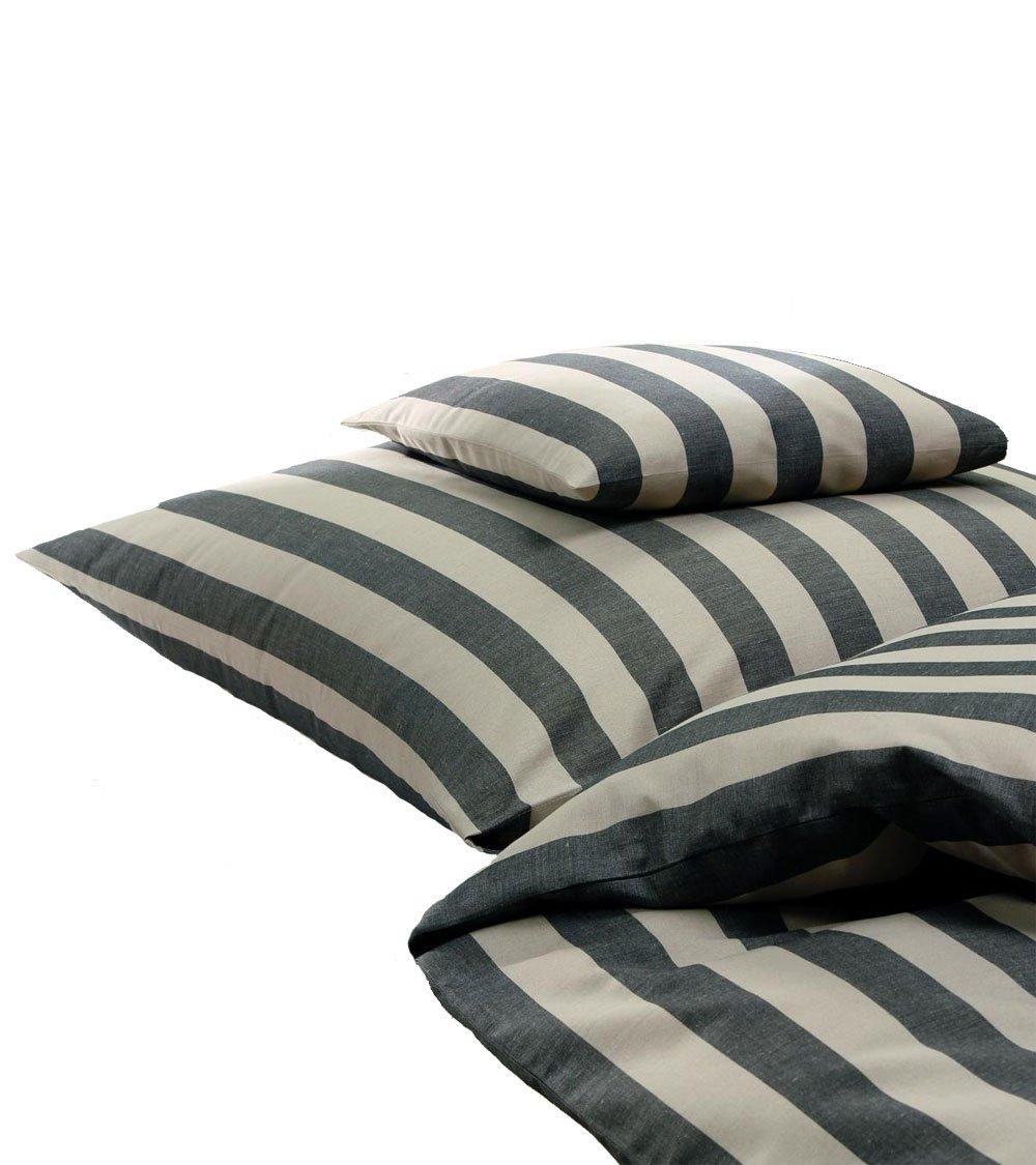 Driessen  Bettwäsche Halbleinen mit breiten Streifen, natur schwarz, 135x200 u 40x80