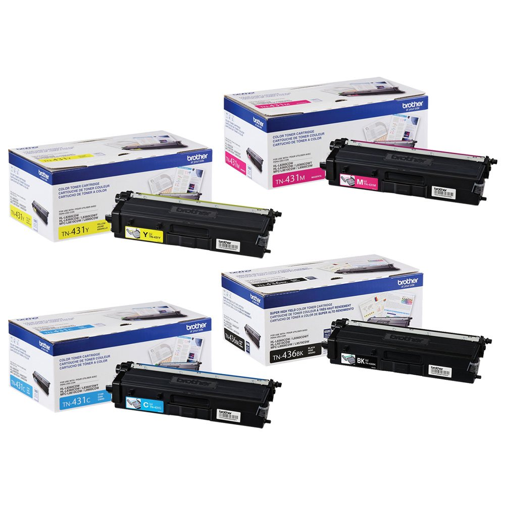 Brother TN436BK Super High Yield and TN431 (C/M/Y) Standard Yield Toner Cartridge Set