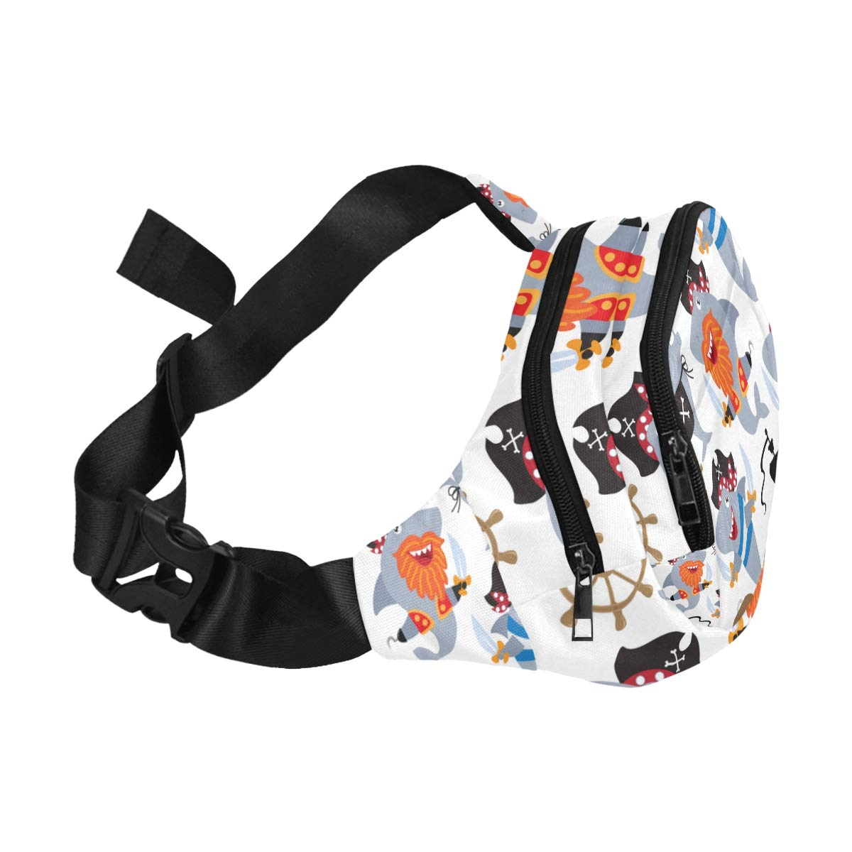 Cute Pirate And Shark In The Sea Fenny Packs Waist Bags Adjustable Belt Waterproof Nylon Travel Running Sport Vacation Party For Men Women Boys Girls Kids