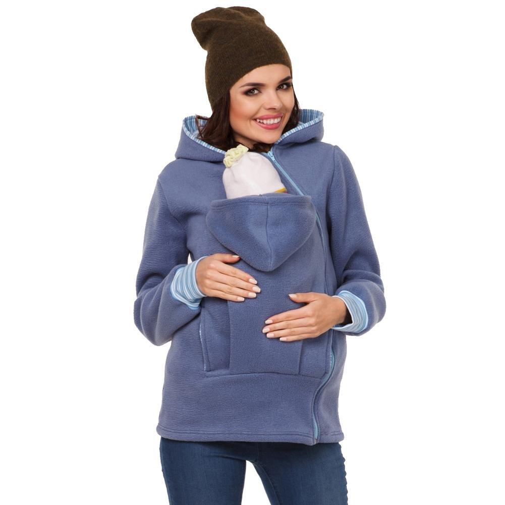 Byjia Sweater Multifunzione Incinta Donne Mamma Canguro Maglione Bambini Animale Domestico Cappuccio Tasca Cerniera Cappotto wexe.com