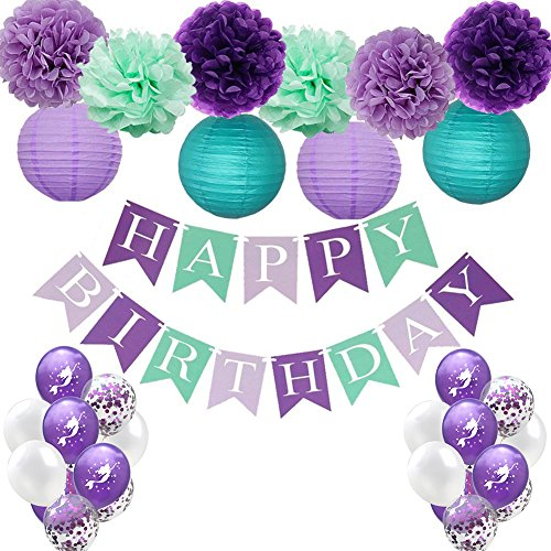(HankRobot Mermaid Balloons(38 Pack Purple) Mermaids Under The Sea Party Supplies Happy Birthday Banner Mermaid Confetti Paper Lanterns-Perfect Birthday Decorations for Girls Party)