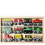 12種類もある 木の おもちゃ 知育玩具 セット 車 木製汽車 機関車 大人気 最適のプレゼント 積み木 子供 幼児 木製 知育玩具 (01)