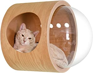 MYZOO Spaceship Gamma: Wall Mounted Cat Bed, Wooden Cat Furniture, Cat Perch, Cat Tree, Cat Shelves (Oak & Walnut)
