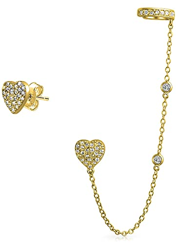 Bling Jewelry Gold Plated .925 Silver CZ Crown Ear Cuff Chain Linked Earrings 5PO8QW10Rr