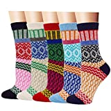 5 Packs Womens Vintage Style Thick Wool Warm Winter Crew Socks Mid-calf Casual Socks