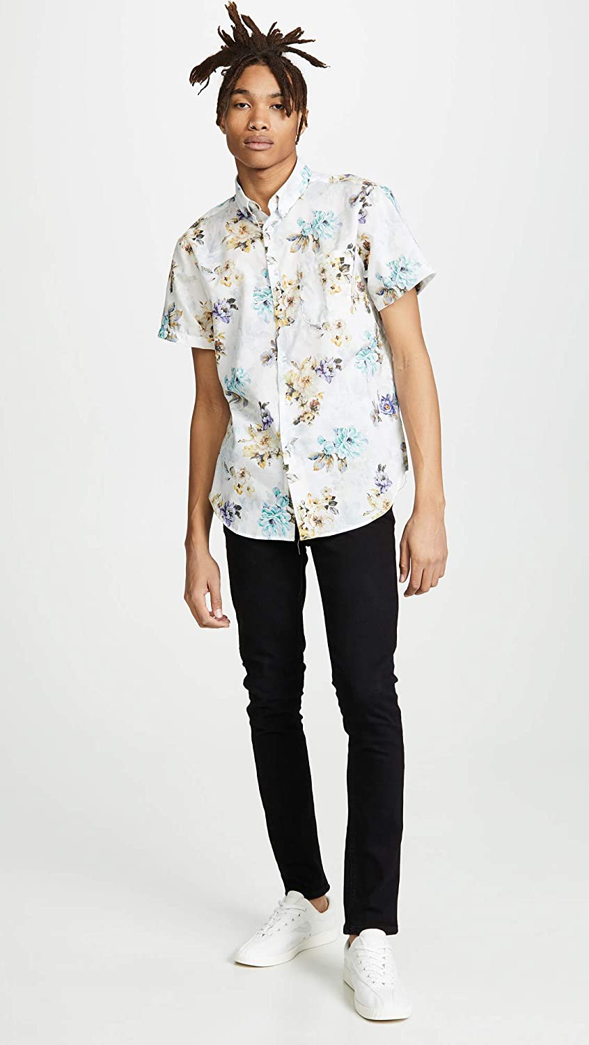 Flowers Painting White Naked /& Famous Mens Easy Shirt X-Large