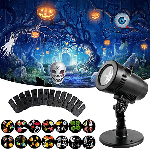 Halloween LED Projector Light, 14 Switchable Patterns Waterproof Landscape Spotlight Motion Projection Light for Christmas Birthday Party Holiday Indoor Outdoor Decoration