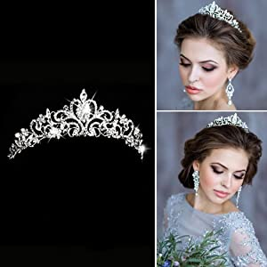 Aukmla Bridal Wedding Crown and Tiara with Crystals for Bride Hair Accessories Silver Hart Tiara for Women and Girls