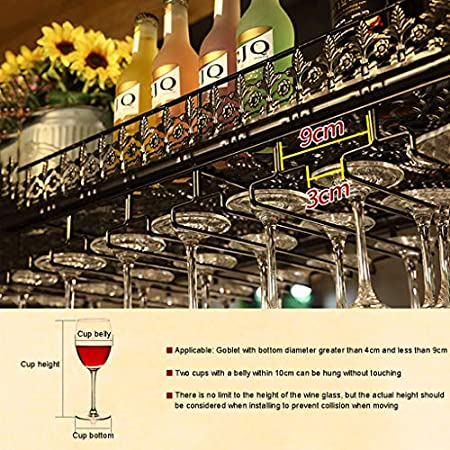 Wine rack Gqq Vinoteca Vitrina, Barra Bar mostrador de Hierro Forjado Estante Techo Copa de Vino Colgante Colgando Boca Abajo botellero 60/80/100/120cm