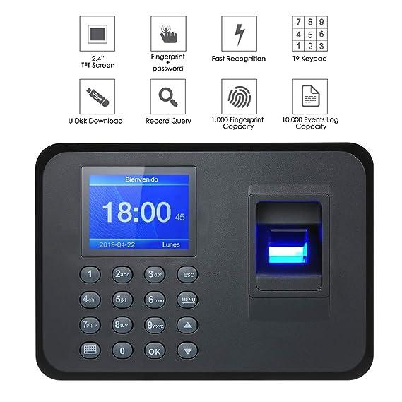 Decdeal Máquina biométrica de Asistencia de Huellas Dactilares y contraseñas, 2.4 TFT LCD Pantalla de USB Reloj de Tiempo Registro de Entrada de ...
