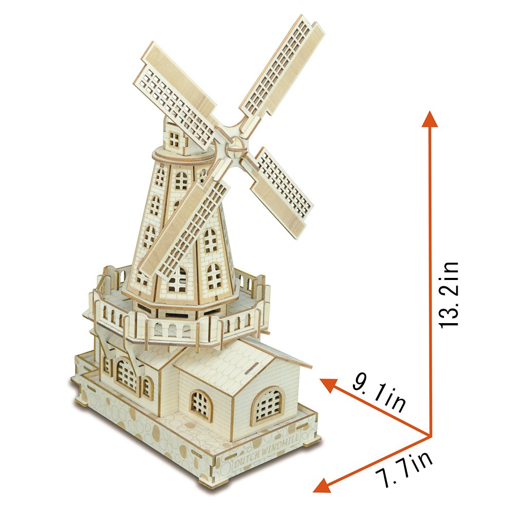 Bitopbi 3D Wooden Puzzles Laser Engraving DIY Safe Assembly Constructor Kit  Toy for Kids Teens and Adults, World Famous Buildings Mechanical 3-D