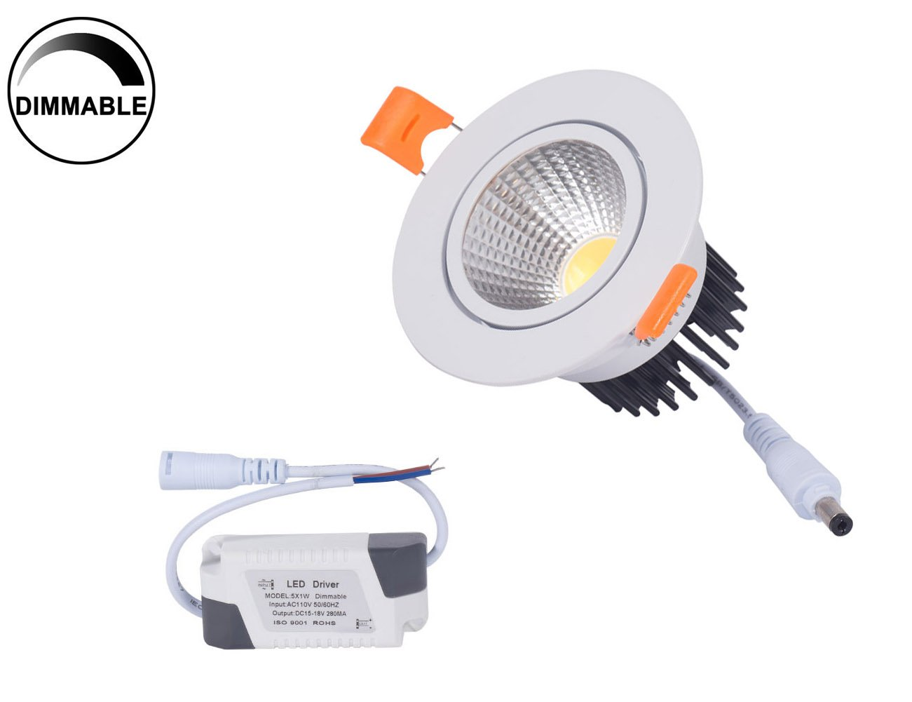 Dimmable 5W Recessed LED Downlight,Cut-Out 2.5in 60 Beam Angle 3000K Warm White Ceiling Light with Driver