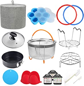 8 Quart Pressure Cooker Accessories Compatible with Instant Pot 8 Qt - Steamer Basket, Dust Cover, Glass Lid, Silicone Sealing Rings, Egg Bites Mold, Springform Pan, Egg Steamer Rack and More