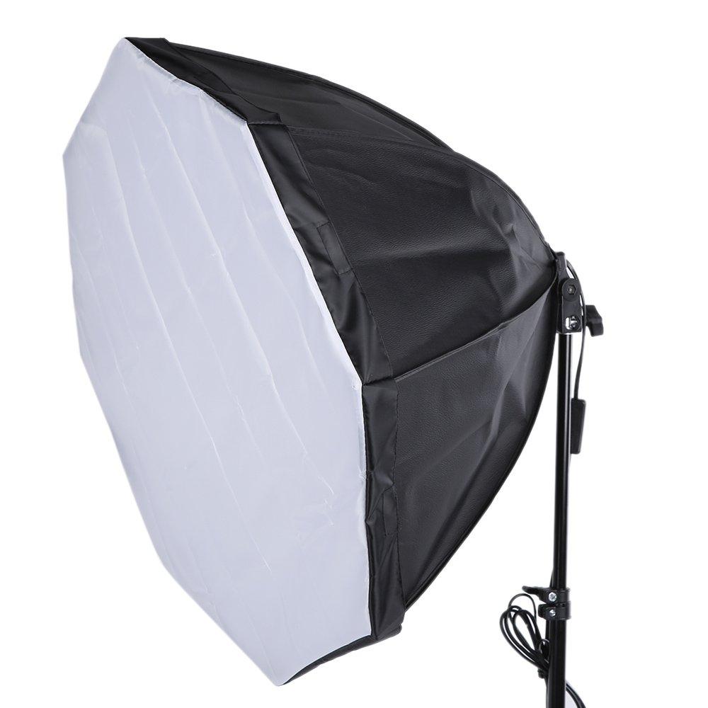 Andoer Profesional Fotograf/ía FotoConjunto de Kit de Iluminaci/ón con 5500K 135W Estudio Luz del D/ía Bulbo Luz Stand Octagon Softbox