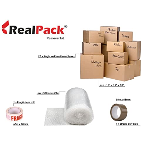 REALPACK® Moving Boxes - Pack of 20 Big Single Wall Cardboard Boxes With 20m of Bubble Wrap +1 x Fragile Tape + 1 x Free Buff Packing Tape Roll Economical Home Removal Kit Free Fast Shipping * Next Day UK Delivery*