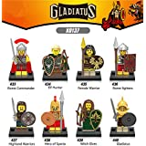 Gladiatus Roman Soldiers Sparta Lego Minifigure 8 Set Action Figures Collectables (8 Pieces) Series Building Blocks with Lego Toys